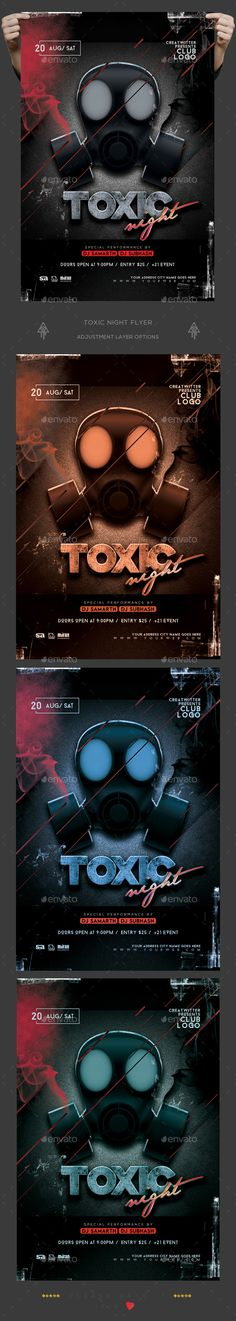 Toxic Night Party — Photoshop PSD #biohazerd #music fest flyer • Download ➝ https://graphicriver.net/item/toxic-night-party/19383796?ref=pxcr