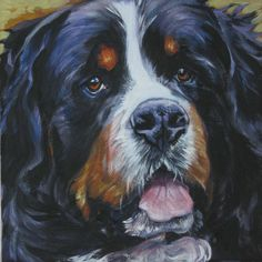 Bernese Mountain Dog portrait canvas print by L.A.Shepard 8x8 inch About the Print:    This open edition image measures 8x8 inches and is printed on