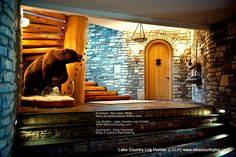Custom Handcrafted Post and Beam Log Homes, Built using Western Red Cedar and Douglas Fir Premium Grade Building Logs in British Columbia, Canada Log Cabin Homes, Log Cabins, Mountain Cabins, Home Developers, Tiny House Luxury, Log Home Living, Game Room Basement, Cedar Log, Entrance Ways