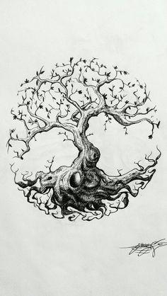 ~ ॐ ~: Photo Card Tattoo Designs, Henna Tattoo Designs, Diy Tattoo, Tree Of Life Logo, Tree Of Life Art, Owl Tattoo Drawings, Tattoo Sketches, Bonsai Tattoo, Yggdrasil Tattoo