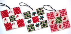 Christmas Ornaments, Quilted, Tiny Quilts for Your Tree, Christmas Colors. $15.00, via Etsy.