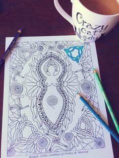 Coloring Pages For Adults Imbolc Sabbat Page Goddess Art Brigid Print Mandala Wall