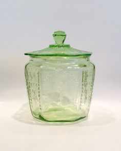 Hey, I found this really awesome Etsy listing at https://www.etsy.com/listing/206879479/depression-glass-cookie-biscuit-jar-in