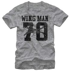 Join the likes of Luke Skywalker and Poe Dameron when you rock the Star Wars X-Wing Man Heather Gray T-Shirt. This durable gray Star Wars shirt reads Wing Man above the number 70 and an X-Wing fighter, all in a slightly distressed vintage-style black