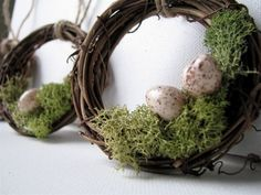 Cyber Monday SALE, Woodland Wreath Moss Nest with Eggs Ornaments, Set of 10. $34.00, via Etsy.