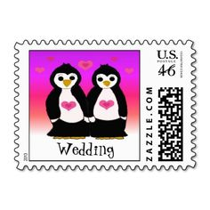 Penguins in Love Wedding Stamp