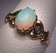 Antique Australian Opal Ring Victorian by AawsombleiJewelry, $695.00 -- this is my engagement ring and I love it!