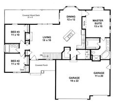 Plan – 3 Bed 2 Bath Open Ranch with three car garage – farmhouse plans House Plans One Story, Best House Plans, Dream House Plans, Open Floor House Plans, Simple House Plans, 4 Bedroom House Plans, Basement House Plans, Farmhouse Layout, Farmhouse Plans
