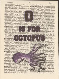 O is for Octopus Vintage Upcycled Book Page by StorybookArtPrints