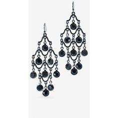White House Black Market Jet Channel Chandelier Earrings ($35) ❤ liked on Polyvore featuring jewelry, earrings, rhinestone jewelry, chain earrings, nickel free earrings, handcrafted jewelry and rhinestone chandelier earrings