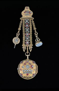 Pair-case Watch and Chatelaine, 1725-50. Jacques (a.k.a. James) Debauffre (active 1712-50), England; gold, diamonds, silver, rubies, agate, enamel. (PC.318) Photo © 2001 by John Biglow Taylor, N.Y.C.