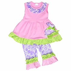 66f9d46d1cb5 Unique Baby Girls Damask Easter Bunny Easter Outfit 5TL Pink   Click on the  image for
