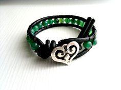 boho black leather wrap bracelet shabby chic by theflowerdesign