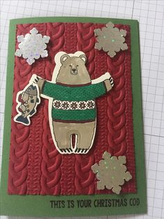 A lovely A6 card using a stampin' up image from fa la la la friends, the cable knit embossing folders and snowflakes punched from a stampin' up punch.