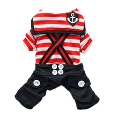 Handsome Nautical Dog Jumpsuit for Dog Shirt Dog Costumes Cozy Dog Clothes Free Shipping,Red,M - http://www.thepuppy.org/handsome-nautical-dog-jumpsuit-for-dog-shirt-dog-costumes-cozy-dog-clothes-free-shippingredm/