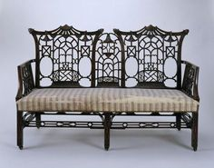 """1760-1770 British Settee at the Victoria and Albert Museum, London - From the curators' comments: """"This is a characteristic example of the Chinoiserie style, popular in England in the mid 18th century. The style has come to be associated with the cabinetmaker Thomas Chippendale, but was adopted by many other workshops in the 18th century."""""""