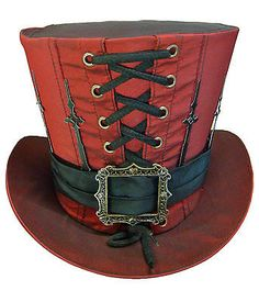 Steampunk Madhatter Hand Made Red Colour Taffeta Top Hat with Clock I know top hats on women at dickens is not appropriate but I love this one. ⚙️ 🔨⛓️⚙️ Steampunk DIY Decor and Clothing Projects ⚙️🔨⛓️⚙️ Arte Steampunk, Style Steampunk, Steampunk Cosplay, Steampunk Design, Steampunk Wedding, Victorian Steampunk, Steampunk Clothing, Steampunk Fashion, Gothic Fashion