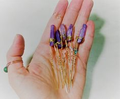 Etsy :: Your place to buy and sell all things handmade Hippie Jewelry, Hair Jewelry, Bohemian Hair Accessories, Bohemian Hairstyles, Stone Wrapping, Ultra Violet, Handmade Jewelry, Handmade Gifts, Hair Pins