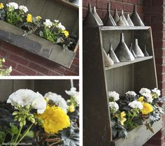 Outdoor Shelf Idea, but leave the top 2 shelves open for shoes before coming into the house from a muddy garden