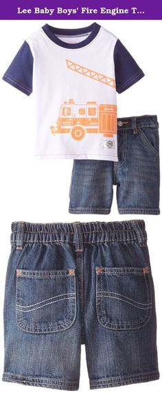Lee Baby Boys' Fire Engine Tee Short Set, Blue Wash, 24 Months. Lee 2 piece set with color block jersey and denim short.