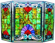 Art Deco Nouveau Stained Glass Fireplace Screen | eBay