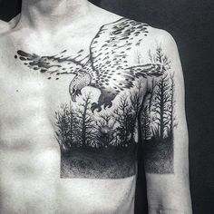 Eagle Guys Forest Upper Chest And Arm Tattoo