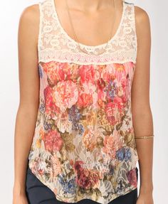Printed Floral Mesh Tank from Forever 21