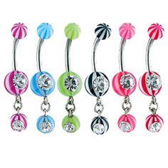 Jeweled navel ring with acrylic beach balls and dangling jeweled beach ball.  #piercing #piercingjewelry #jewelry #bodypiercing #bodyjewelry ♥ $0.99 via OnlinePiercingShop.com