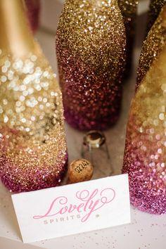 OhLovely - glitter ombre bottles!