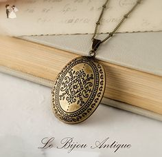 Antique locket necklace with Moroccan carvings in antique bronze finish and vintage beaded chain - Wedding nacklaces (*Amazon Partner-Link)