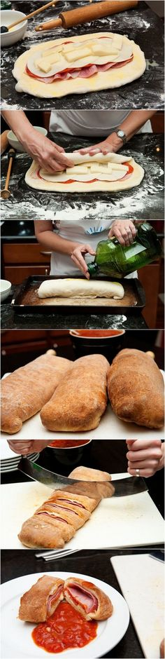 Stromboli Recipe Ingredients Pizza Dough Genoa Salami Ham Pepperoni Provolone Mozzarella Egg Yolk Olive Oil Instructions Preheat the oven to Flour a work surface and roll the dough out into a … Easy Dinner Recipes, Great Recipes, Favorite Recipes, Easy Recipes, Dinner Ideas, Paleo Dinner, Top Recipes, Easy Meals, I Love Food