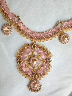 first piece for 2013: Swarovski Crystals Pearls Pink Golden Necklace by SpringColors, $100.00