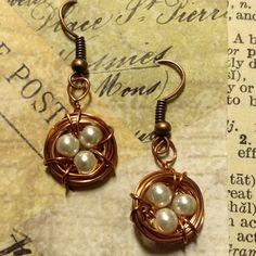 HANDMADE: Brass Bird's Nest Earrings with Pearls ($12)