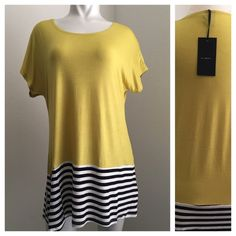 """New - Short Sleeve Top This is a lime color short sleeve with round neckline and stripe panel at the hem. Material is a soft 95% RAYON, 5% SPANDEX. Small - full length 28.5"""", underarm to underarm 21"""". Medium- full length 29"""", underarm to underarm 22"""". Large- full length 30"""", underarm to underarm 23"""". Please ask questions if you are not sure Active Ladies Tops"""