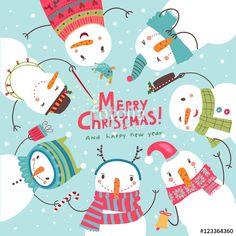 Vektor: Christmas card. Round dance of snowmen