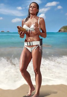 """Ursula Andress as Honey Ryder in the first James Bond film """"Dr. No"""" directed by Terence Young. James Bond Movie Posters, James Bond Movies, Ursula Andress, Classic Hollywood, Old Hollywood, Best Bond Girls, James Bond Women, James Bond Style, Honey Ryder"""