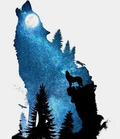 Art wolf with a blue wolf howling ~ Diogo Verissimo Wolf Painting, Painting & Drawing, Animal Drawings, Cute Drawings, Wolf Drawings, Wolf Silhouette, Landscape Silhouette, Wolf Artwork, Wolf Spirit Animal