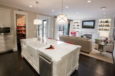 for our future home. love the kitchen/family room combination. glam but functional.