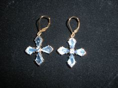 Tanzanite Precious Stone Cross Earrings Technibond Vintage Blue Stamped 925 Rare Gemstone EXPIRING SOON