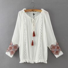 2016 New Autumn Spring Long Sleeve Women Embroidered Shirt O-neck White Hollow Out Blouses Tops Woman Clothing Blusas Femininas http://www.aliexpress.com/store/1306869?spm=2114.10010108.0.624.SMTYLf