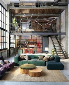 Loft living by designers Golovach Tatiana & Andrey Kot. #interiordesign