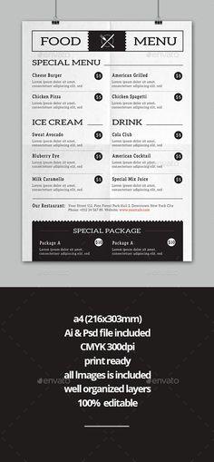 Elegant and Creative Restaurant Menu Template PSD - Cover Page - bar menu template