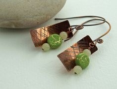 Hammer textured antiqued copper with green by DragonflyDreamers, $22.00