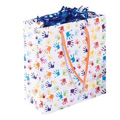 Handprints Gift Bag - The perfect bag to coordinate with a Handprints graduation theme or use on its own. Kindergarten Graduation Gift, Kindergarten Gifts, Graduation Theme, Big Day, Presents, Kids, Children, Boys, Gifts
