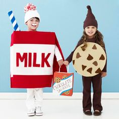 Dress a pair of trick-or-treaters as milk and cookies for #Halloween! http://www.parents.com/holiday/halloween/costumes/halloween-costumes-for-pairs-of-kids/?socsrc=pmmpin101812HWCMilkandCookies#page=4