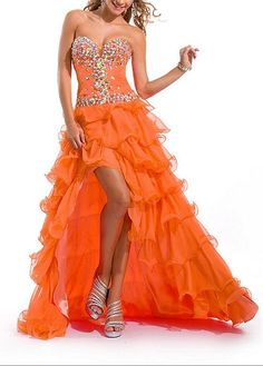 Buy discount Stunning Chiffon A-line Strapless Sweetheart Beaded Ruffled High Low Prom Dress at Dressilyme.com