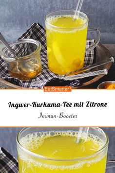 Ginger turmeric tea with lemon - Would you like an immune booster? Then try our ginger-turmeric tea with lemon – smarter – calor - Healthy Eating Tips, Healthy Nutrition, Healthy Snacks, Weight Loss Tea, Health Desserts, Fun Desserts, Ayurveda, Sour Cocktail, Turmeric Tea