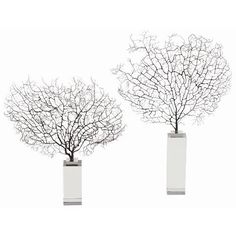 Corinne Sea Fan Coral/Acrylic Sculpture, Set of 2  Material :  Metal, Crystal