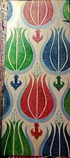 16th.century ottoman Kemha,painting on wood.It looks so modern, this pattern