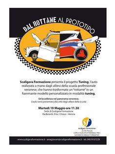 Gli allievi della scuola SCALIGERA FORMAZIONE presentano l'auto che hanno realizzato a mano e trasformato da Rottame a fiammante modello da tuning Porsche Logo, Logos, Logo